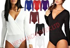 Womens Wrap Over V Neck Plunge Bodysuit Ladies Long Sleeve Leotard Plain Stretch in Clothes, Shoes & Accessories, Women's Clothing, Lingerie & Nightwear | eBay