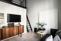 Небольшая квартира с роскошной черной кухней (40 кв. м) | Пуфик - блог о дизайне интерьера