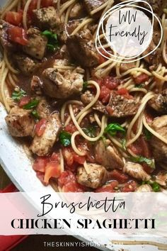 My Bruschetta Chicken Spaghetti is an easy and healthy pasta dish to serve your friends and family. My recipe is filled with tomatoes, balsamic vinegar, fresh basil, garlic and Italian seasoning and is a fresh and delicious choice for dinner! #bruschetta #spaghetti #ww Best Pasta Recipes, Ww Recipes, Chicken Recipes, Dinner Recipes, Healthy Recipes, Healthy Pasta Dishes, Healthy Pastas, Food Dishes, Food Food