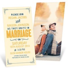 Eternally full of style, this vintage poster-look is the perfect way to add flair to your wedding invitations.