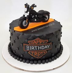 Harley Davidson bike theme cake in Pune. For my other creations, please visit my website www. Bolo Harley Davidson, Harley Davidson Birthday, Davidson Bike, Motorcycle Birthday Cakes, Motorcycle Cake, Fondant Cakes, Cupcake Cakes, 3d Cakes, Fondant Bow