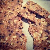 Almond butter bark - coconut oil, almond spread, coconut flakes, rice malt syrup, raw cacao