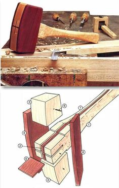 Wooden Mallet Plans - Hand Tools Tips and Techniques | WoodArchivist.com #WoodworkingTools #WoodworkingTips