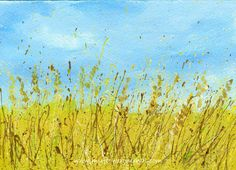 More splattered paint art ideas and tips including a wheat field, wild flowers and a sunset all done in acrylic paint. No drawing skills needed!