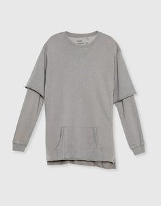 Pull&Bear - hombre - novedades - ropa - sudadera doble manga - grismedio - 09590540-I2016