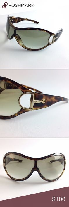 Gucci 2561/S horse bit tortoise frame sunglasses. Womens Gucci 2561/S horse bit hinge tortoise frame sunglasses. Glasses have grey transitional lenses. The Gucci horse bit is gold with embossed logo. Item guaranteed authentic and come in a random case. Not original case. Slight scuff one lens, visible in pictures. Please see pictures for details. Gucci Accessories Sunglasses