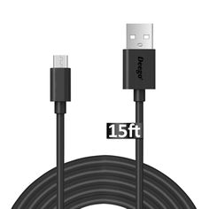 Android Micro USB Charging Cable, [15 Ft] Extra Long USB 2.0 Charging Cord Wire, Durable and Fast Charge Cable for Samsung galaxy S6 S7 edge, PS4, BLU, MOTO, Nexus, LG, Smartphones and More(Black)