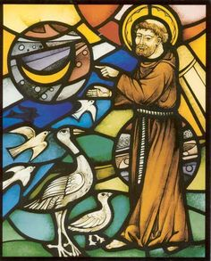 Franciscus van Assisi - > 1950. Glas-in-lood Nederland, Tilburg, Minderbroeders-Capucijnen.