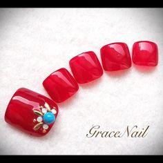 8月キャンペーンデザイン #nail #nailart #naildesign #nailinstagram #ネイル #ネイルアート #ネイルデザイン #ジェルネイル #フットネイル #ペディキュア #レッド #ターコイズ #gracenailフット #gracenailレッド