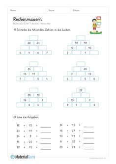 """NEW: A free math worksheet on the topic """"Computing walls with 4 building blocks … Math Board Games, Math Games, English Study, Learn English, Free Math Worksheets, Math Art, Basic Math, Math For Kids, Elementary Education"""
