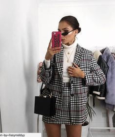 Tailored Checked Blazer Outfit   Checked Skirt   Checked Trousers Outfit   Womens Fashion Outfits Casual   Office Wear Outfits   Checked Blazer Work Outfit