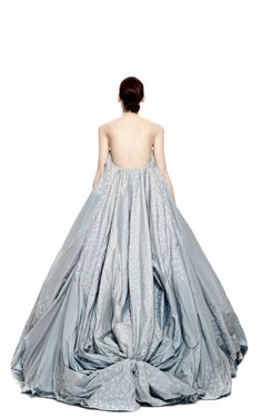 Butterfly Taffeta Strapless Princess Gown by Zac Posen for Preorder on Moda Operandi