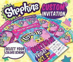 Shopkins Party Theme Custom Birthday Invitation Etsy shop https://www.etsy.com/listing/251136227/shopkins-party-theme-custom-birthday