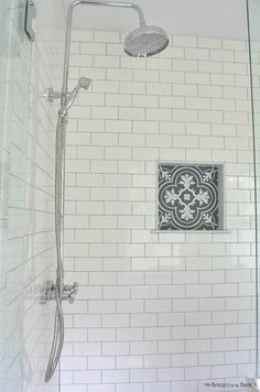 The Modern Farmhouse Master Bathroom Reveal: Turning a Bedroom into a Bathroom White subway tile is a classic. I love the charcoal gray grout and the patterned tile that looks like cement tile in the shower cubby Budget Bathroom, Bathroom Renovations, Small Bathroom, Master Bathroom, Bathroom Yellow, Gold Bathroom, Gray And White Bathroom Ideas, Bathroom Interior, Bathroom Pics