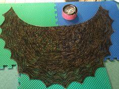 Geology shawl for Pat at CAA.  Used QFA sock yarn in browns