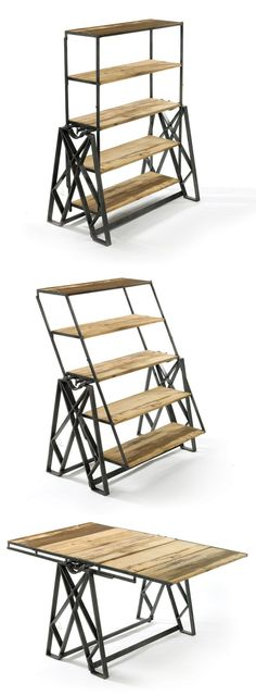 Reclaimed Wood Convertible Shelf Table—-could use for drying dishes and storing them Into The Woods, Cool Furniture, Furniture Design, Antique Furniture, Distressed Furniture, White Furniture, Wooden Furniture, Office Furniture, Furniture Ideas