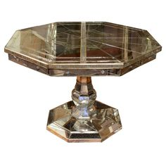 Vintage Mirrored Octagonal Dining Table with Pedestal Base | From a unique collection of antique and modern dining room tables at http://www.1stdibs.com/furniture/tables/dining-room-tables/