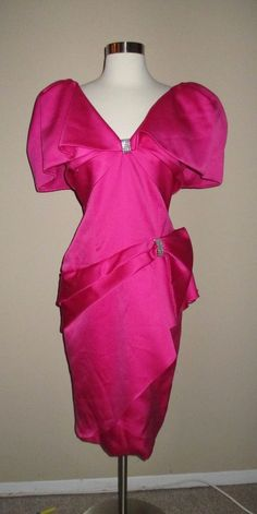 a3b2761e8dd KAREN OKADA for DAVID HOWARD vintage 80s pink fuschia PARTY DRESS Made in  USA  DavidWarren