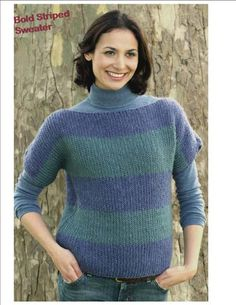 Boatneck Sweater in Bold Stripes - This great sweater from Authentic Knitting Board is great if you're looking for free knitted sweater patterns for women.  It's fast and easy to knit in only 2 pieces. Cap sleeves are knit into the front and back pieces. Neckline is boatneck. Length sits at hipline.