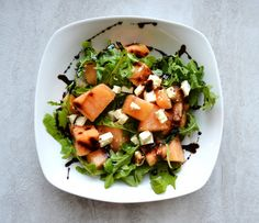 Arugula, Cantaloupe and Feta Salad with Balsamic Glaze - just got fresh cantaloupe from the garden and cannot wait to try this!