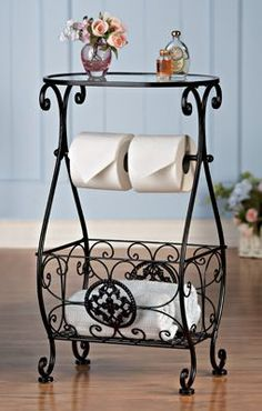 Bathroom Decor Glasstop Bathroom Storage Table Elegant bathroom table has a… Bathroom Table, Bathroom Storage, Glass Bathroom, Design Bathroom, Tissue Paper Roll, Wrought Iron Decor, Decoration Bedroom, Collections Etc, Iron Furniture