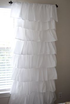 How to make a ruffled curtain using $4 flat sheets from walmart!