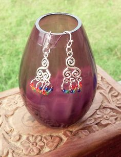 Rainbow Spirals Dangle Earrings