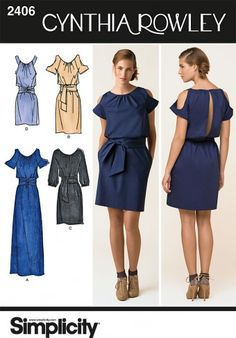 Cut Out Sleeve Boutique Dress Pattern, Cynthia Rowley Collection 2406 by Simplicity Patterns Simplicity Sewing Patterns, Dress Sewing Patterns, Clothing Patterns, Skirt Sewing, Skirt Patterns, Coat Patterns, Blouse Patterns, Diy Clothing, Sewing Clothes