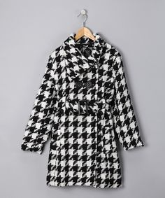 Look at this Yoki White & Black Houndstooth Coat - Toddler & Girls on #zulily today!