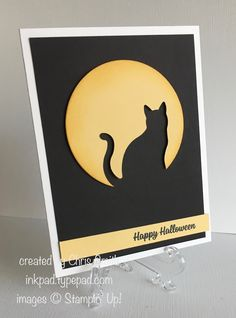 CAS Cat punch silhouette punched from So Saffron moon made with largest Layering Circles framelit.  Sponge the circle with So Saffron ink prior to punching out the cat. Variation: add Crushed Curry or Pumpkin Pie sponging