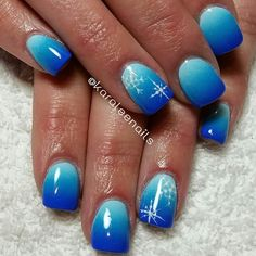 Blue ombre snowflake nails by me