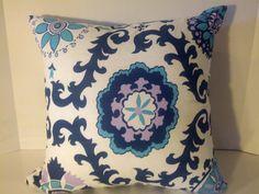 Pillow Cover Cushion  blue, navy, lavendar, lavender, ikat, suzani  12x16 lumbar. $15.00, via Etsy.