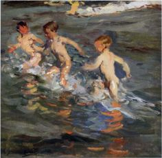 Joaquin Sorolla - Children at the beach 1899 Spanish Painters, Spanish Artists, Paintings I Love, Beautiful Paintings, Renoir, Claude Monet, Beach Art, Pictures To Paint, Figure Painting