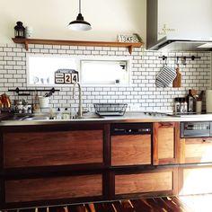 Kitchen/IKEA/カフェ風/サリュ/サブウェイタイル/タイルキッチン...などのインテリア実例 - 2016-03-24 04:54:24 | RoomClip (ルームクリップ)
