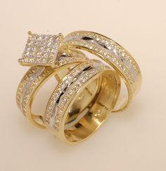 Yellow Gold Over Trio Men Womens Lab Diamond Rings Set Wedding Bridal Band #aonejewels