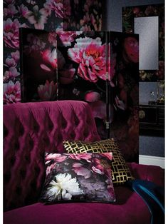 This double sided soft velvet effect cushion shows a show stopping dramatic floral pattern, a 'must have' for this season.