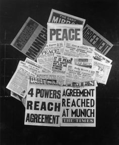 A selection of British newspaper front pages, published on Munich Agreement, Newspaper Front Pages, Appeasement, Ww2, 1940s, 30th, The Selection, United Kingdom, Archive