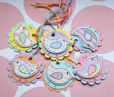 Little Spring Birds  Set of Six Round Gift by CraftyMushroomCards, £2.50