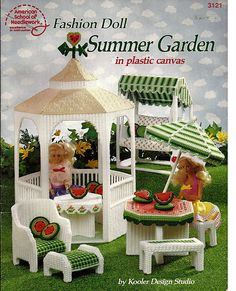 Fashion Doll Summer Garden in Plastic Canvas Pattern 3121 American School of Needlework.