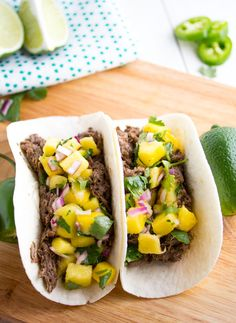 Slow Cooker Caribbean Beef Tacos with Mango Salsa | Sweet Peas and Saffron