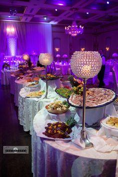 Venetian Banquet Hall Wedding Photography Toronto, Buffet, Purple Lights, Dinner