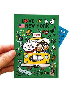 #illust #illustrator #zeo #crayonghouse #newyork #taxi #일러스트 #그림 #그림엽서 #뉴욕