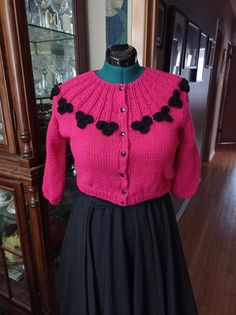 """Brand new cardigan! This one fits 37""""/38"""" bust! I have one more coming in black with white flowers! Any colour combinations that you Black Flowers, Cropped Cardigan, Star Patterns, Blue Suede, Vintage Patterns, Color Combinations, Hand Knitting, Hot Pink, Brand New"""