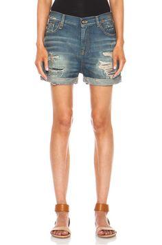 R13 Shredded Shorts in Selvedge Blue Shredded