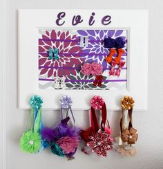 Hair bow and headband holder personalized 11x14 picture frame