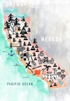 "California, 13"" x 19"" Illustrated Map. Wall Decor/Gift, via Etsy."