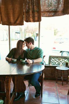 Coffee house engagement Amanda Watson Photography < http://www.amandawatsonphoto.com > www.wedsociety.com