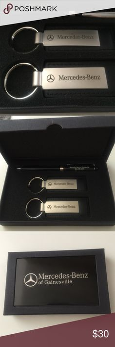 Mercedes Benz keychain pen gift set Brand new never used 2 Mercedes key chains and one pen packaged in original box and white cover box. Mercedes Benz Accessories Key & Card Holders