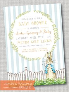 Peter Rabbit Invitation Peter Rabbit Baby by AmberTravisDesigns