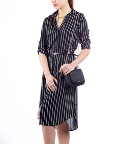This Black & White Stripe Belted Shirt Dress is perfect! #zulilyfinds